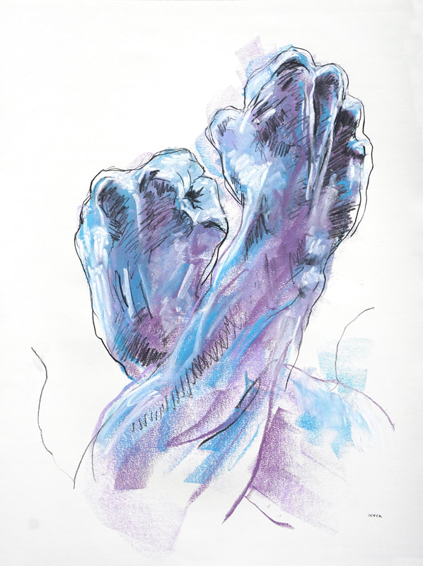 Blue and violet hands by Derek Overfield