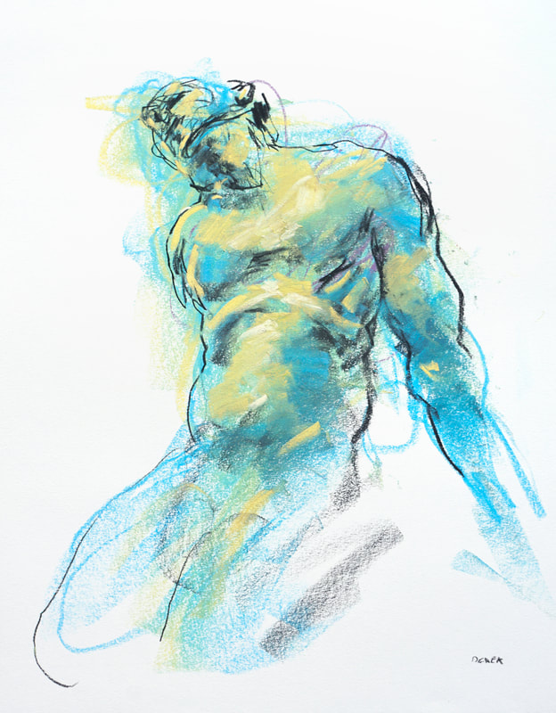 Cerulean and chartreuse figure by Derek Overfield