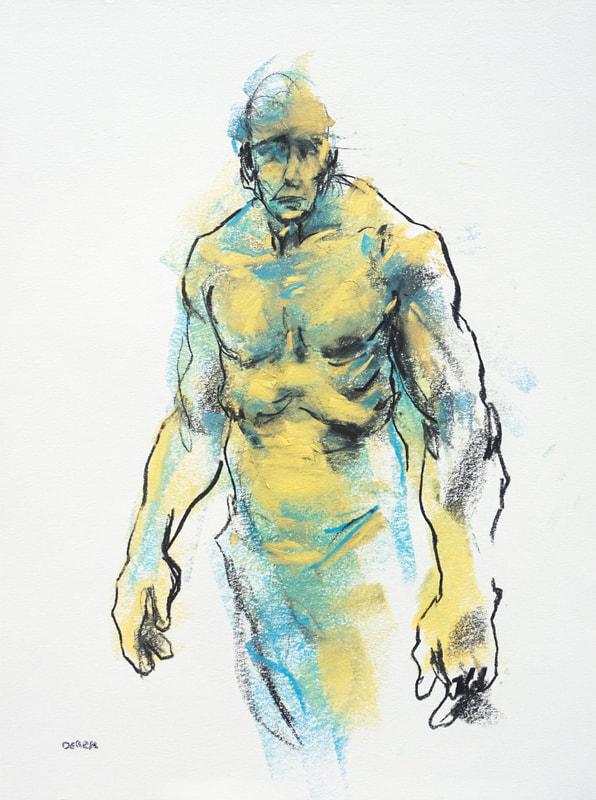 Yellow and blue figure by Derek Overfield
